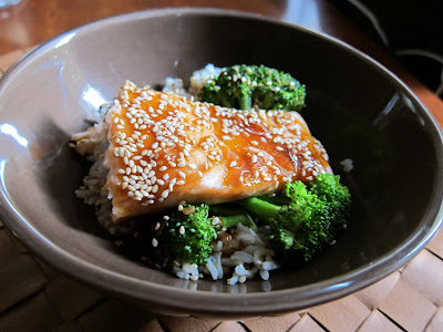Asian Salmon over rice with broccoli and a lime soy sauce