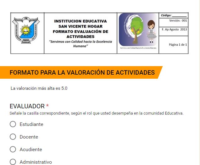 Evaluación de Actividades Institucionales