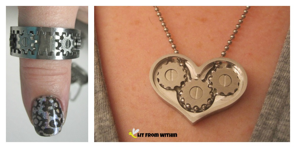 Kinekt jewelry - gear heart necklace and gear ring