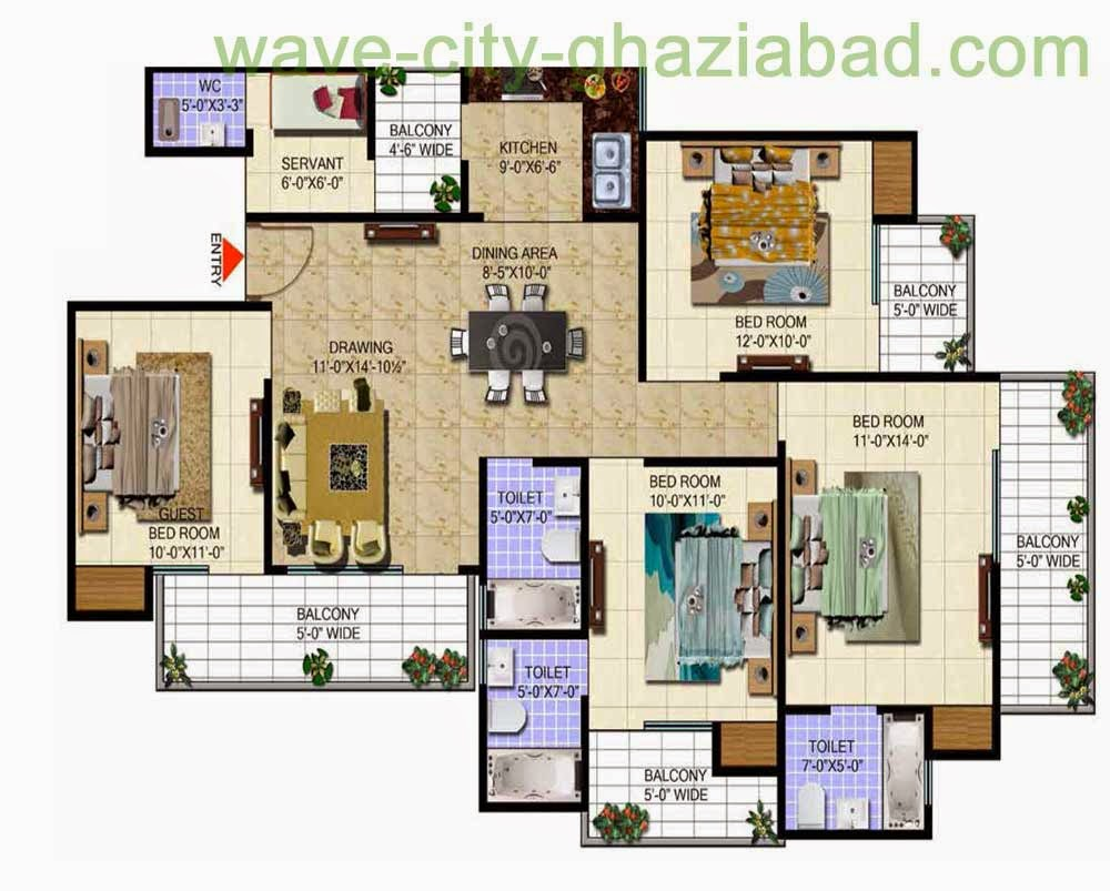 Wave City Mantra Meadows 4BHK APARTMENT + STUDY/ 1920 SQFT
