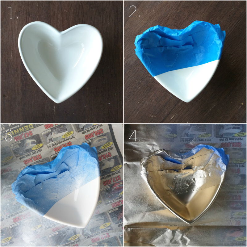 Valentine's day craft! Dollar store gold dipped heart dish tutorial