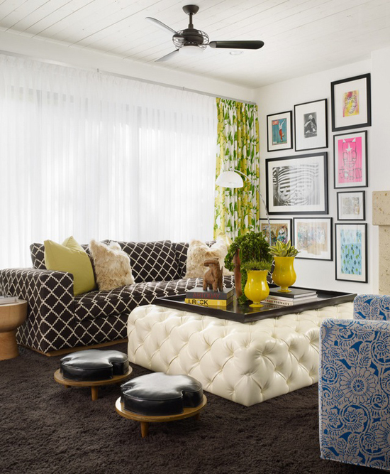 Xl white leather tufted ottoman calming down the patterned seatings. Design by Pal + Smith, photo by Eric Staudenmaier.