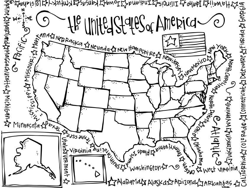 Product Review United States Listening Comprehension Reading - Us map coloring page with state names