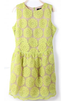 Green Sleeveless Sunflower Dress