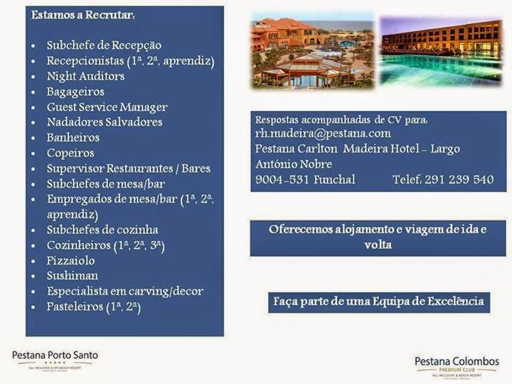 empregos hotelaria Madeira