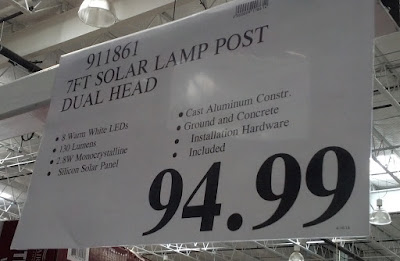 Deal for Reflection International 7ft LED Solar Dual Head Lamp Post at Costco