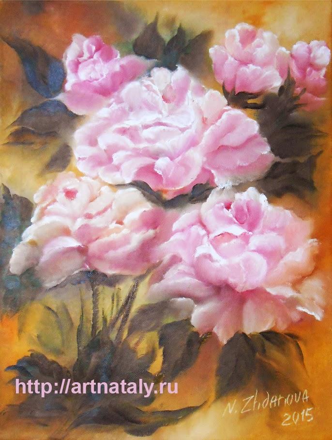 Картина цветов Розы маслом купить