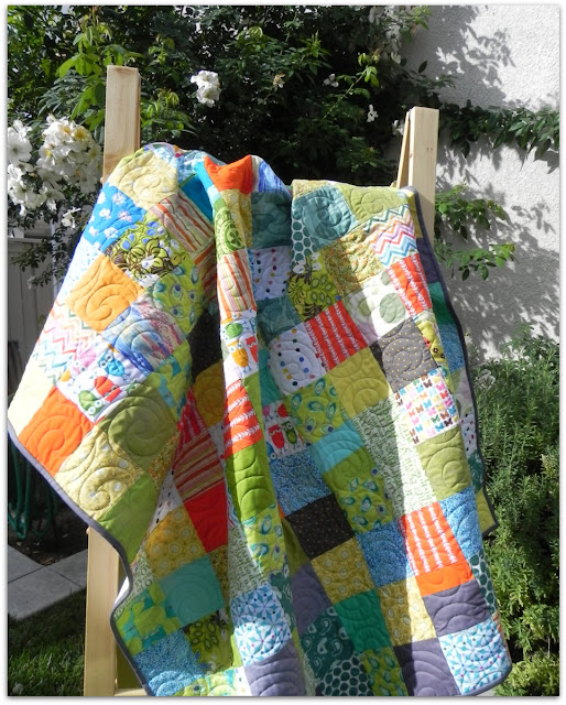 Janice Elaine Sews Colorful Patchwork Quilt