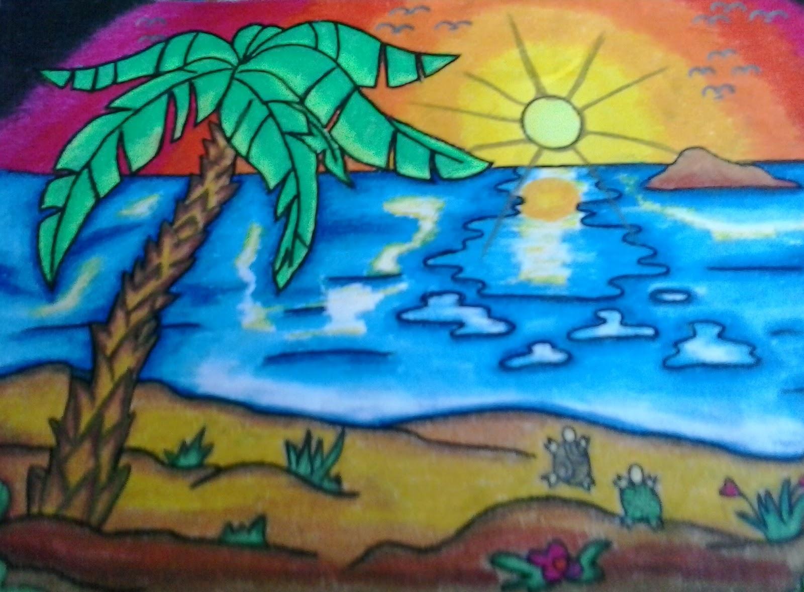 Mewarnai Pemandangan Bawah Laut Dengan Crayon Gambar Mewarnai