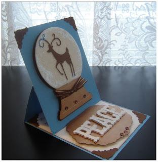 Easel peace, deer snow globe Christmas card