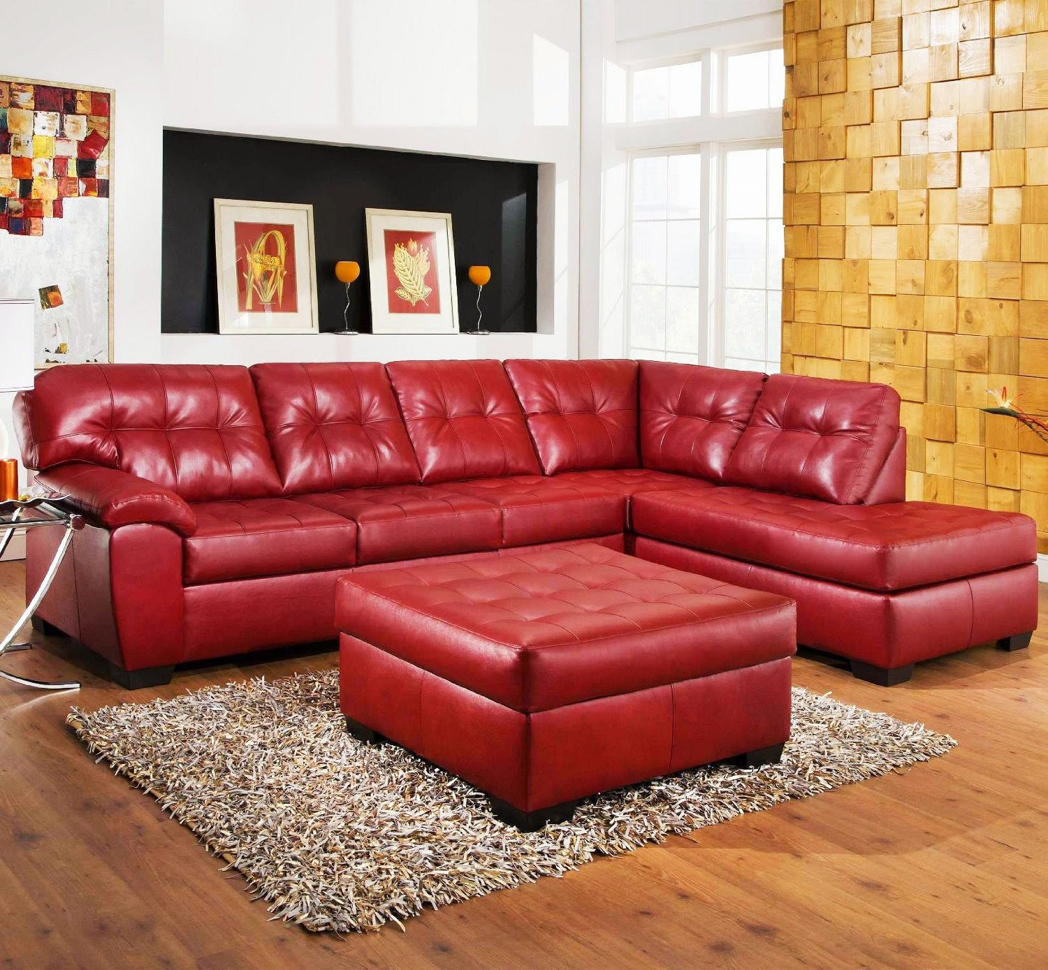 3-Piece Red Leather Sectional Sofa With Chaise And Ottoman Set