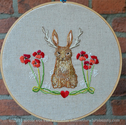 My Owl Barn Beautiful Hand-Embroidery Follow The White Bunny