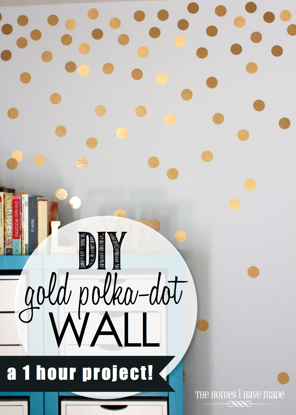 Diy gold polka dot wall the homes i have made i first fell in love with this idea when i came across this amazing coral dresser and its gold polka dotted backdrop bottom left amipublicfo Images