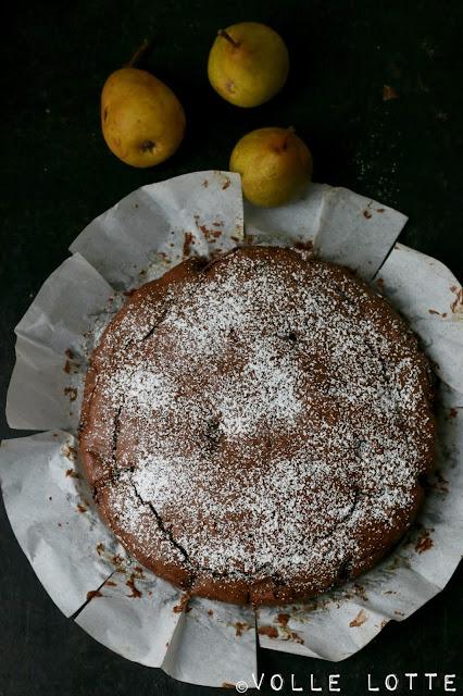 Schoko, Kakao, backen, Kuchen, Herbst, Birnen, Saftig, lecker, einfach