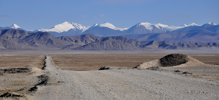 Indo-Chinese border from Ladakh. The area can named as no-man's-land.
