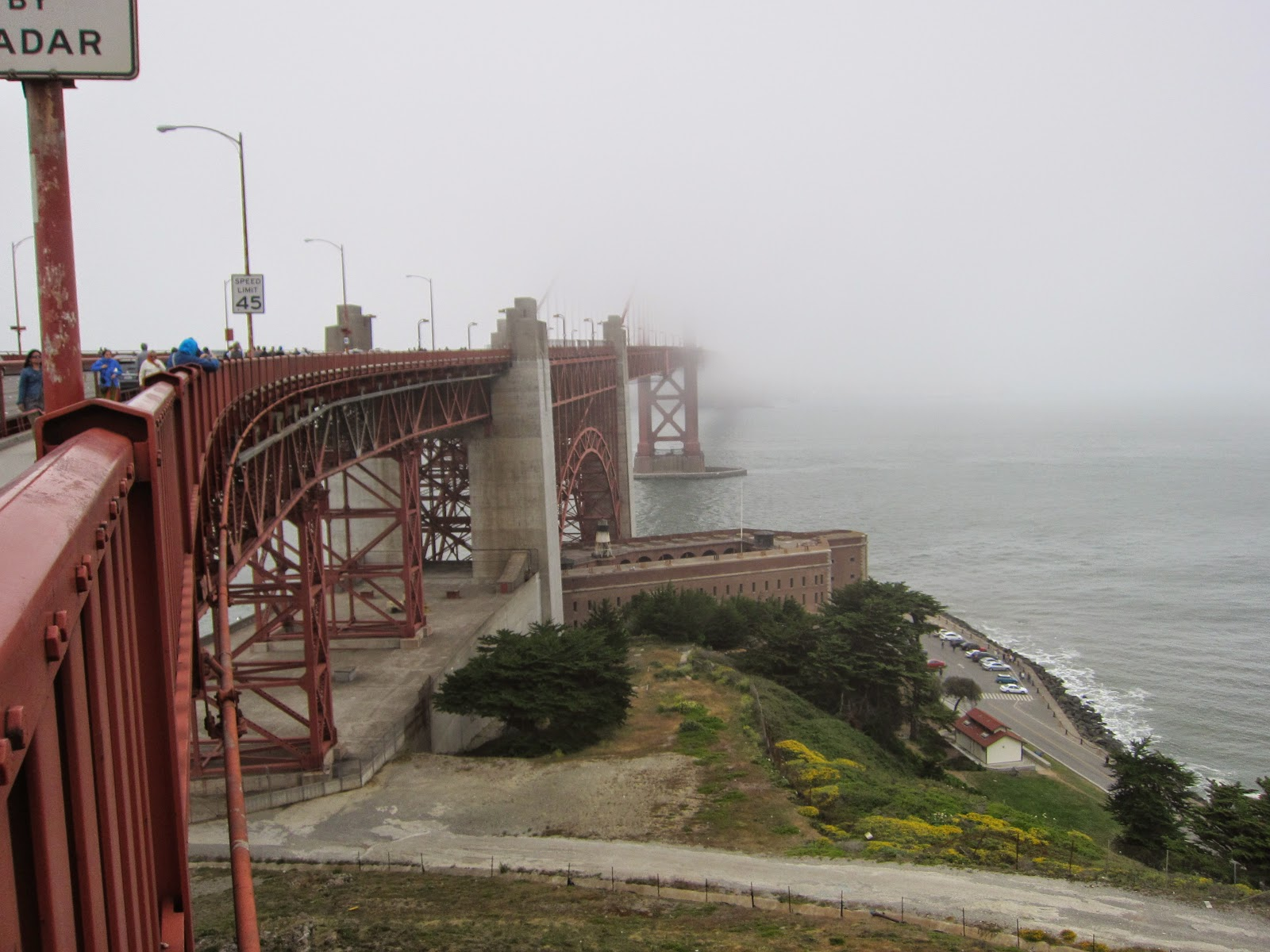 Golden Gate Bridge and Fort Point in the fog