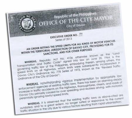 Davao City Executive Order 39 - Speed Limits