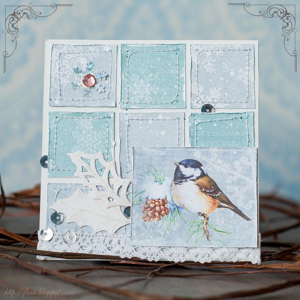 открытка новогодняя, открытка лоскутная, открытка скрапберрис