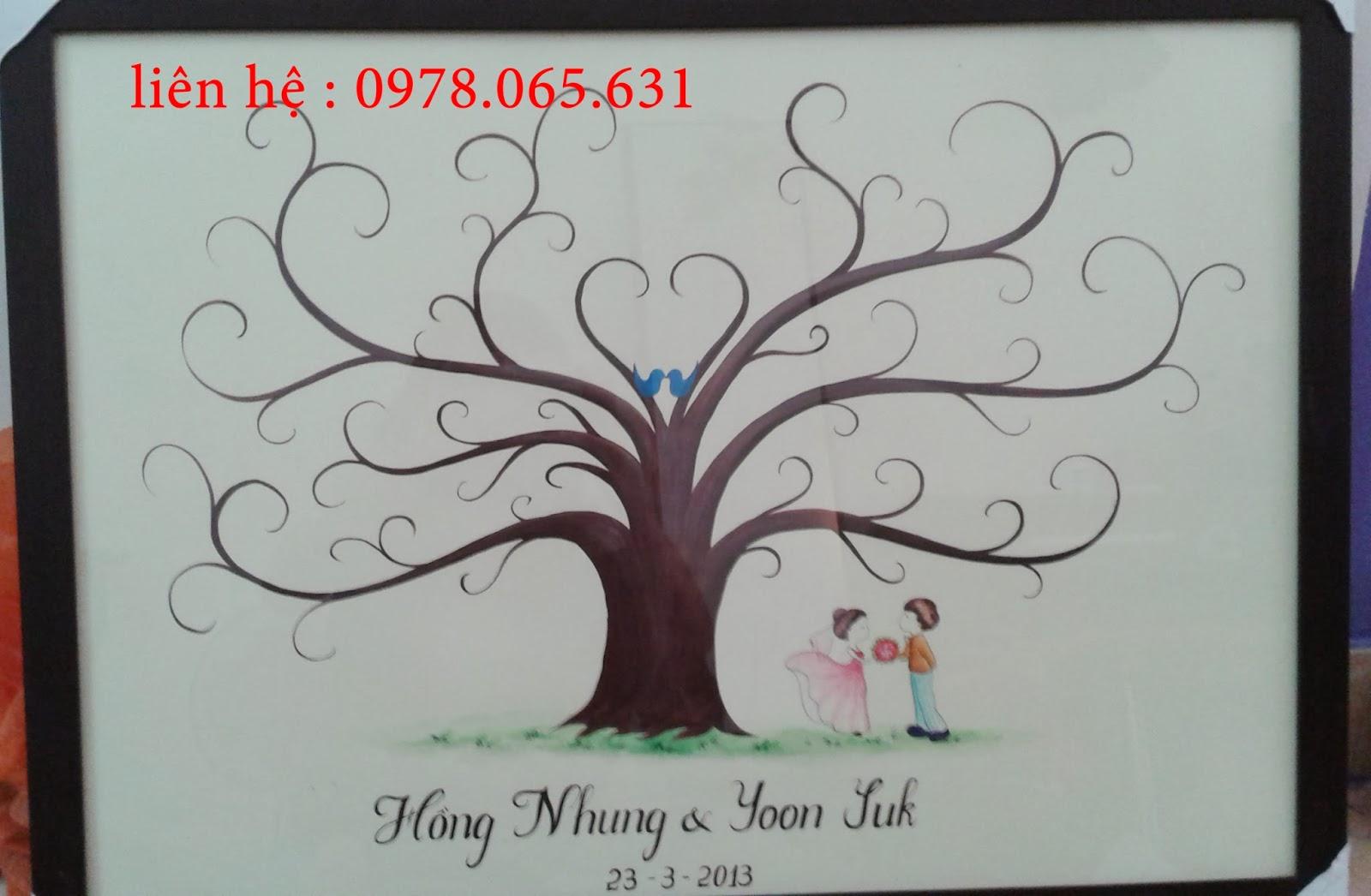 tranh in dấu vân tay ngày cưới