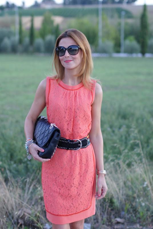 apricot lace dress, Miu Miu shoes