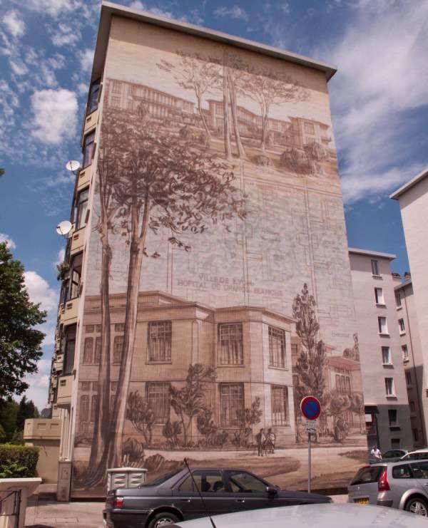 Les murs peints du quartier des etats unis visiter lyon - Hopital edouard herriot grange blanche ...