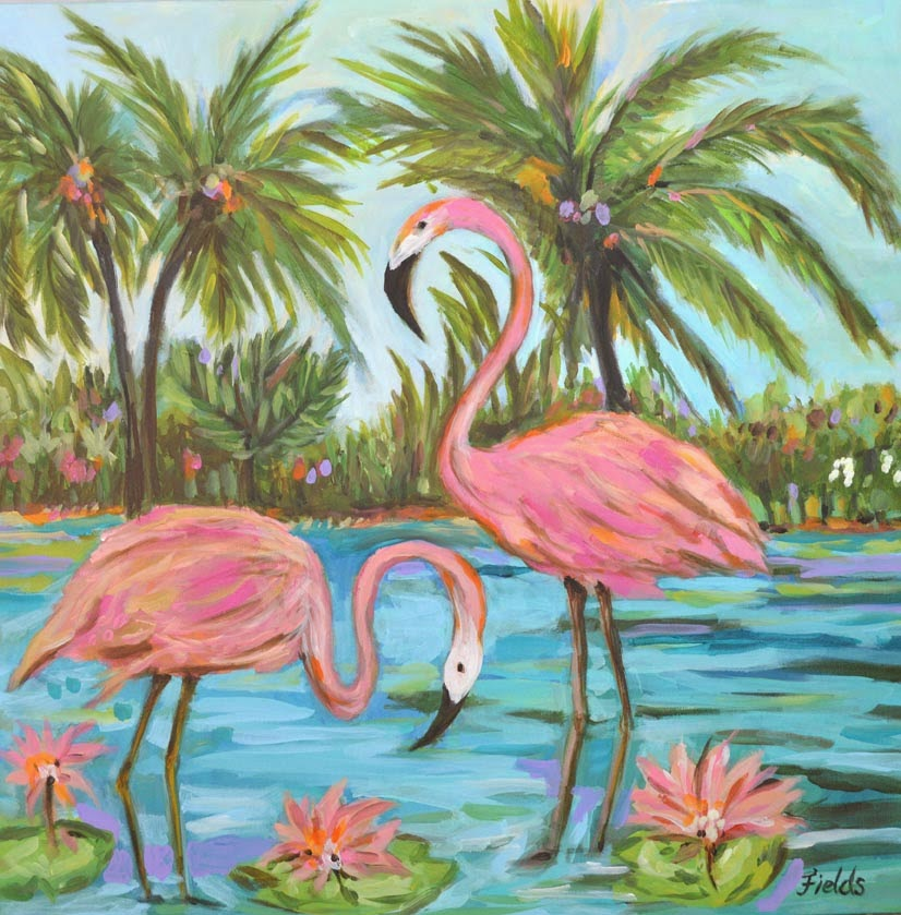 My Creative Life: Pink Flamingo Painting by Karen Fields 30 x 30