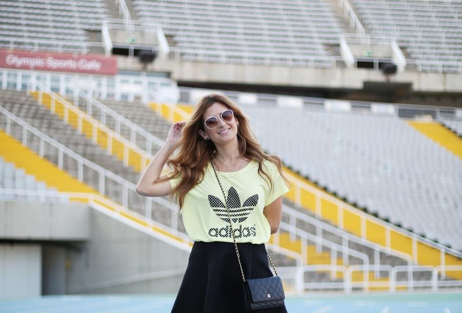 Happy Girl. Chanel bag. Adidas T-shirt