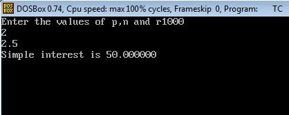 C Program to Calculate Simple Interest