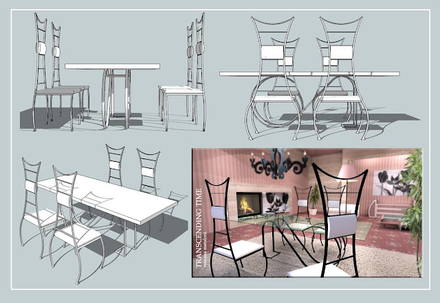"sketchup model living table and chair  ""Transcending time"""