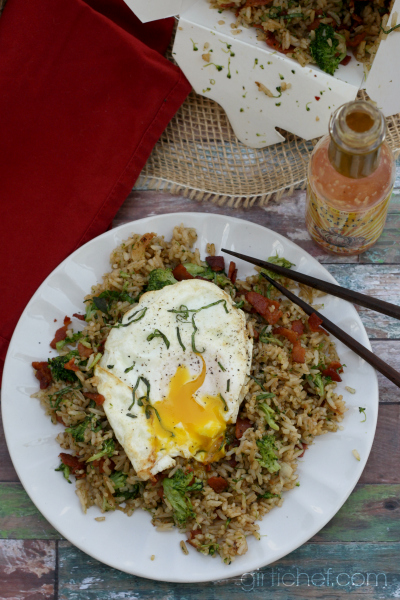 Bacon, Broccoli, and Garlic Fried Rice - All Roads Lead to the Kitchen