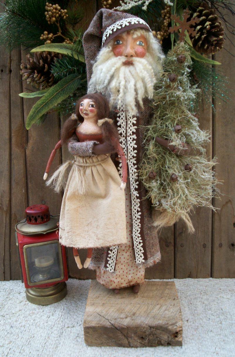 primitive folk art dolls by beth old world santa with folk art doll rh primitivefolkartdolls blogspot com