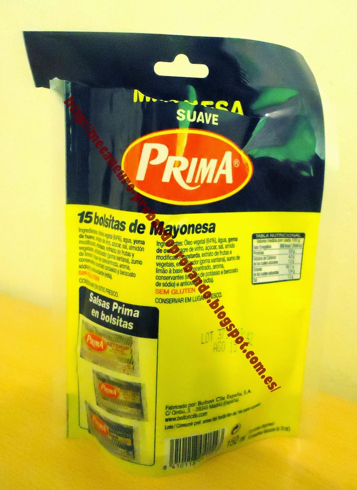 Prima, mayonesa suave en bolsitas para transportar