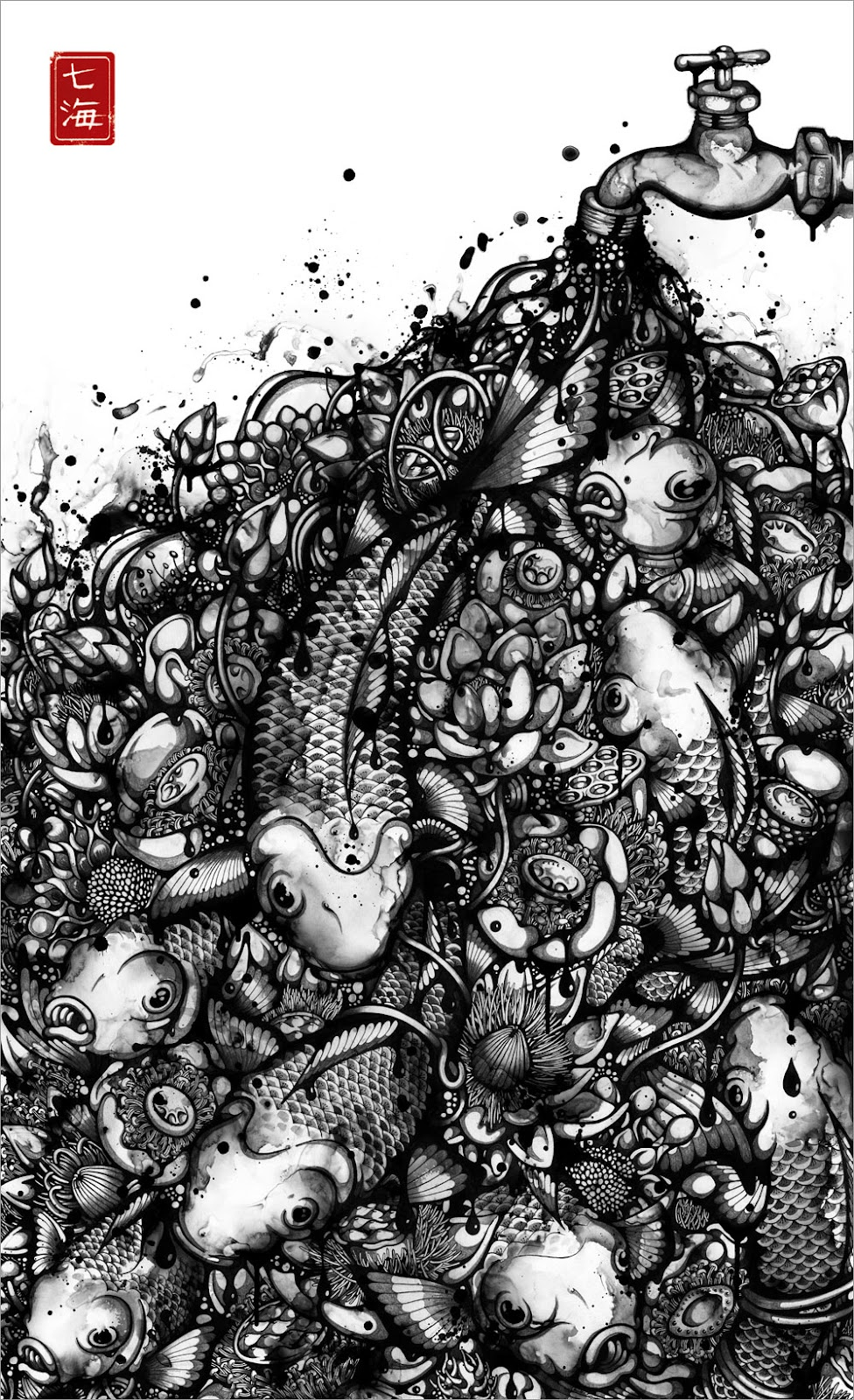 10-Over-Flow-Nanami-Cowdroy-Splashes-of-Ink-Drawings-www-designstack-co