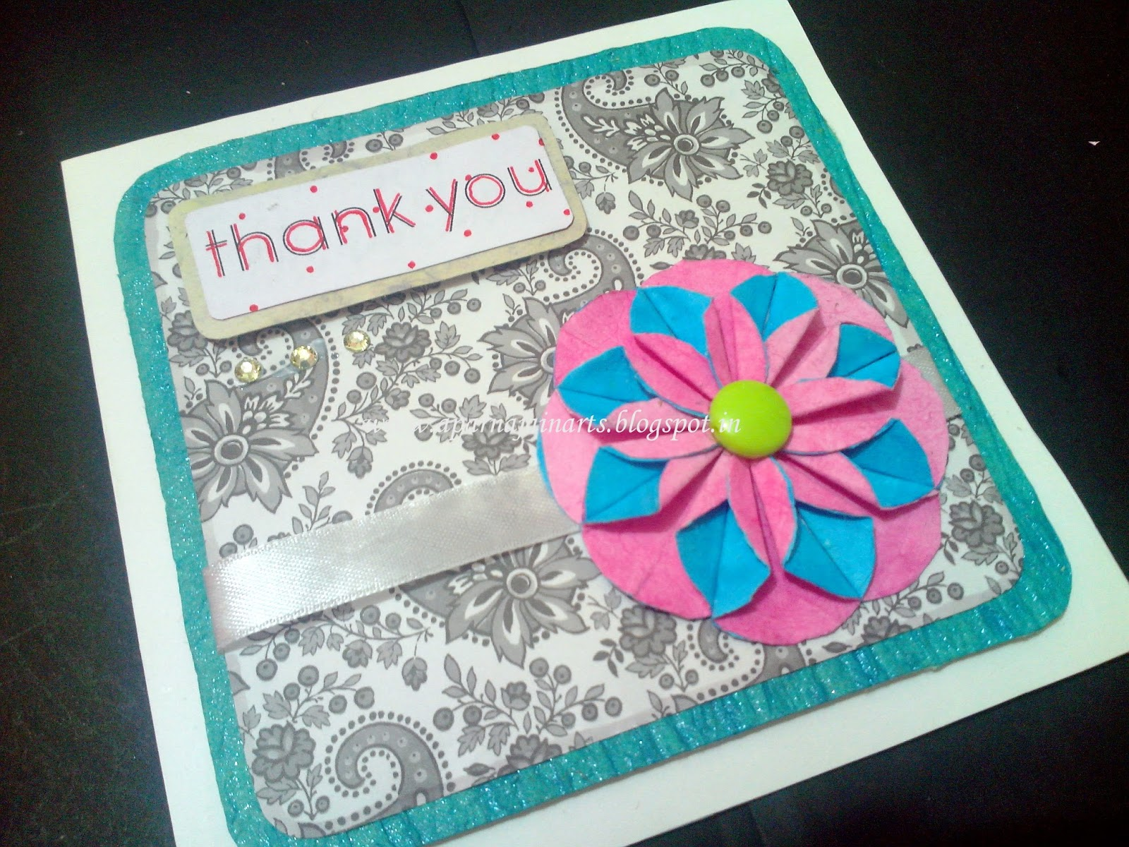 The Crafty World Pankh Arts Thank You Greeting Card With Paper