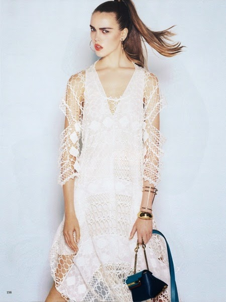Chloé 2014 SS Editorial: White Graphic Lace Dress With Cut-Out Sleeves