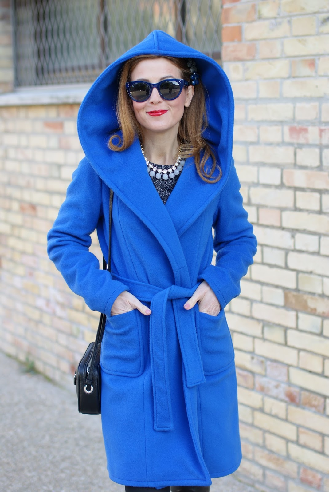 blue Wrap hooded coat and over the knee boots on Fashion and Cookies fashion blog, fashion blogger style