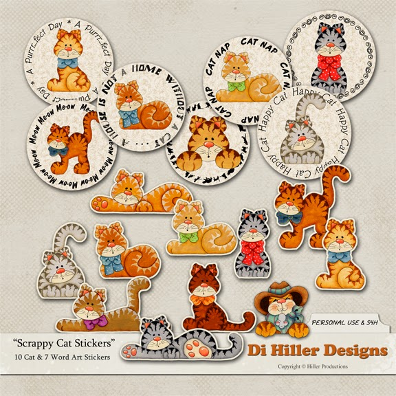 Scrappy Cats Stickers