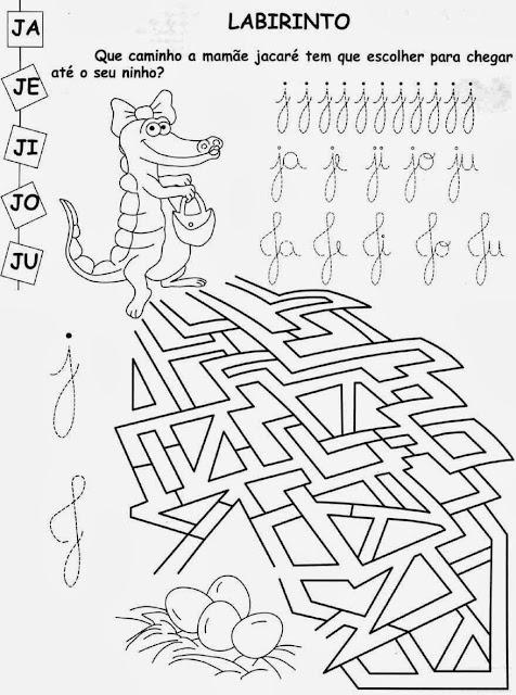 Atividades com a letra J.Ensino Fundamental, Atividades para imprimir, Alfabetização, Letras, 1º ano.jacaré