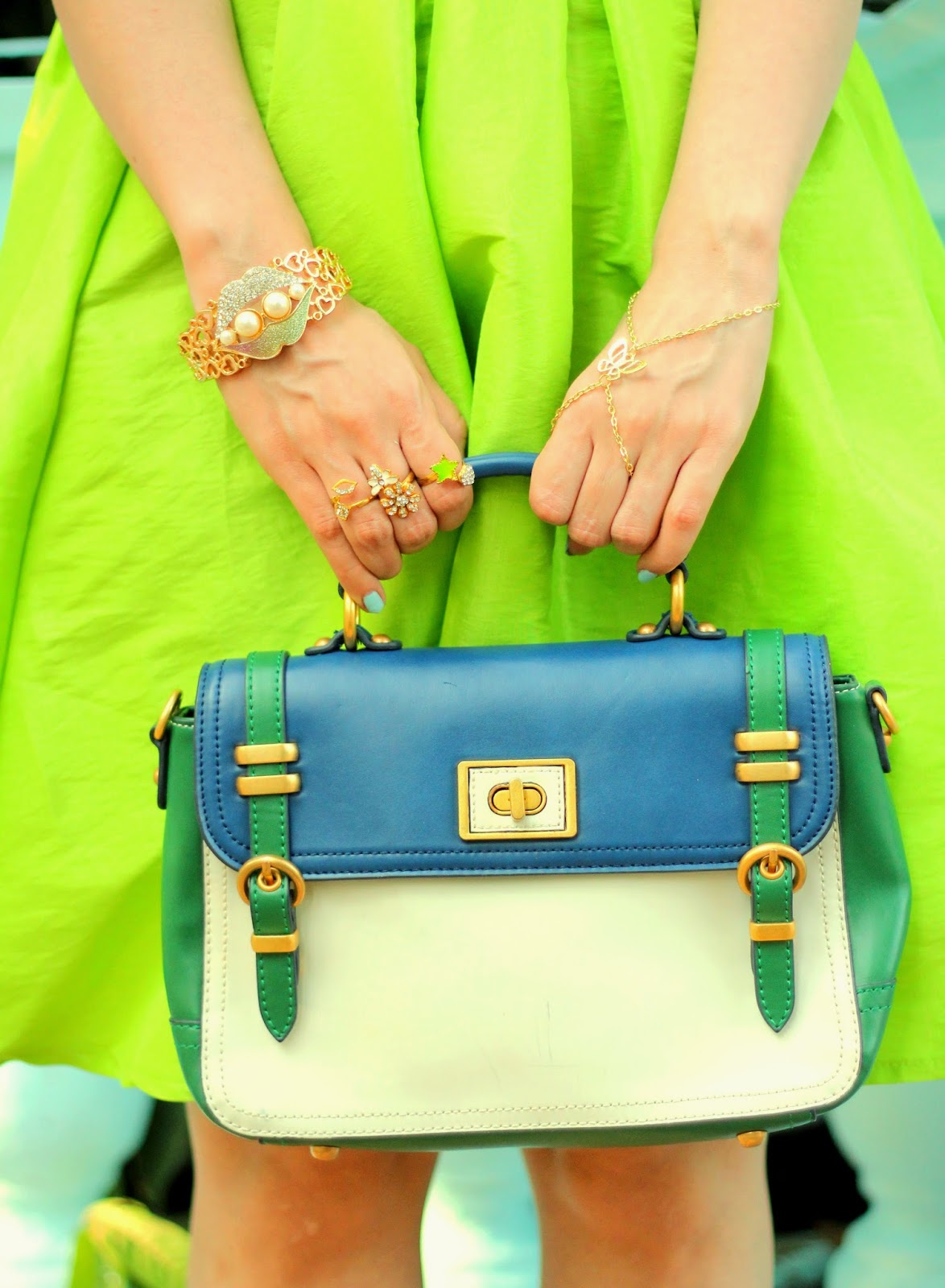 Charles & Keith Blue-Green Satchel Bag
