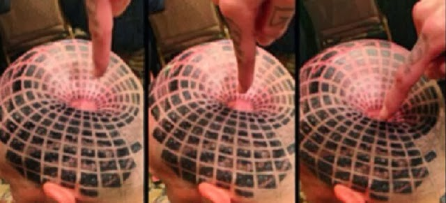 Optical Illusion Head Tattoo