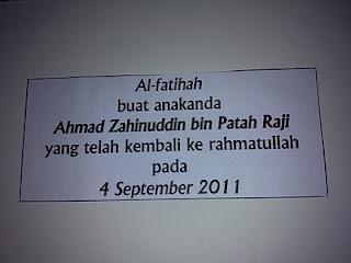 Hanya ini yang ku mampu berikan pada mu..  Ahmad Zahinuddin