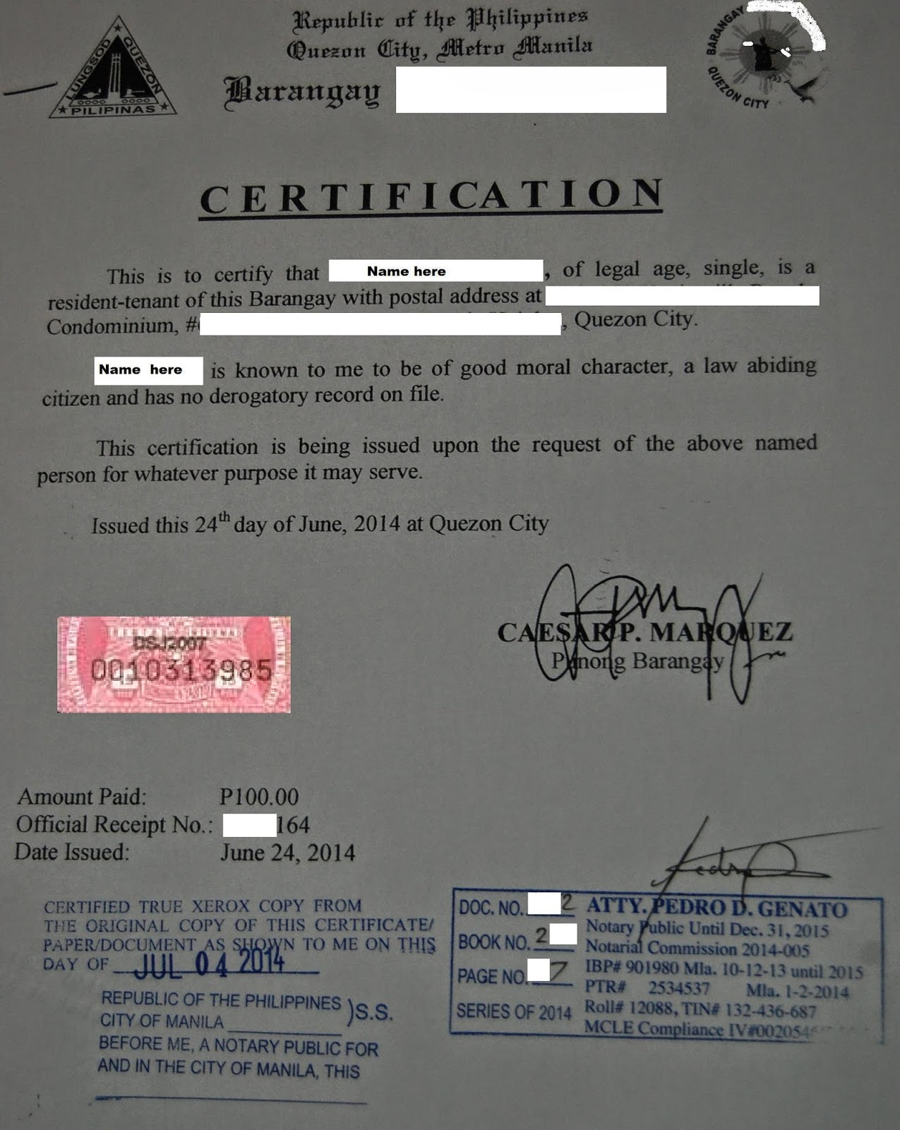 Philippine psychometricians licensure exam reviewer sample of sample of certificates of good moral character nbi and other requirements yadclub Images