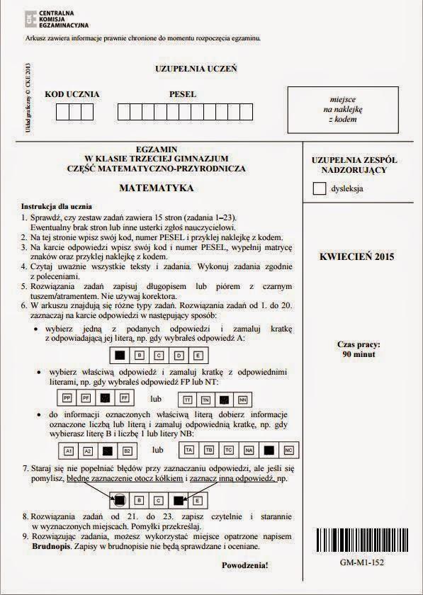 Egzamin Gimnazjalny Testy + Odpowiedzi 2015 do pobrania