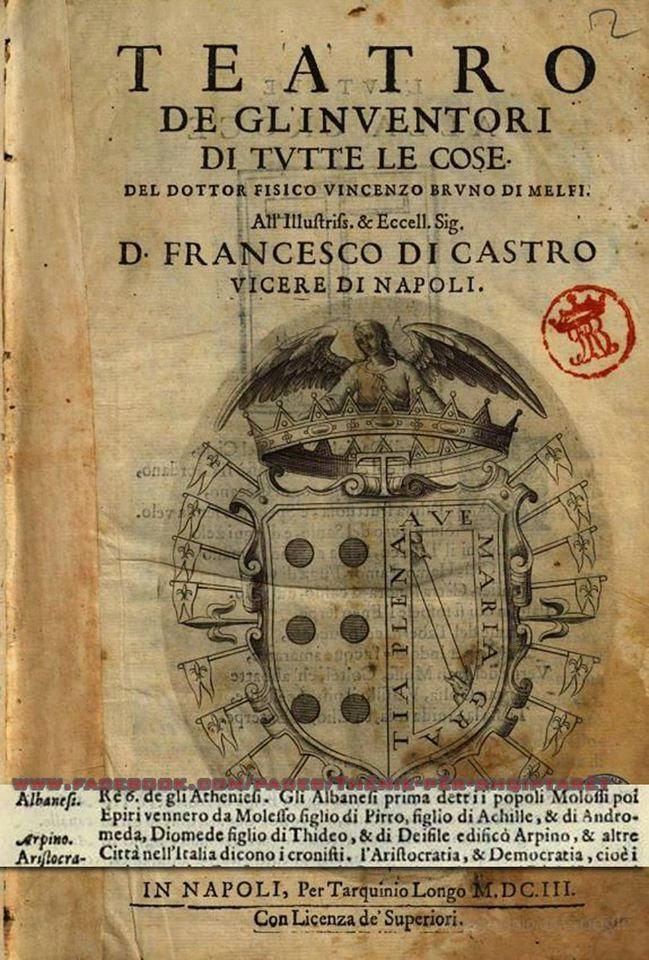 Gli albanesi sono i molossi , epirioti , figli di Pirro e Achille(1603 , Vincenzo Bruno)