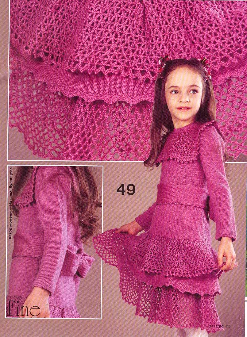 Vestido tejido con dos agujas para niña - Imagui