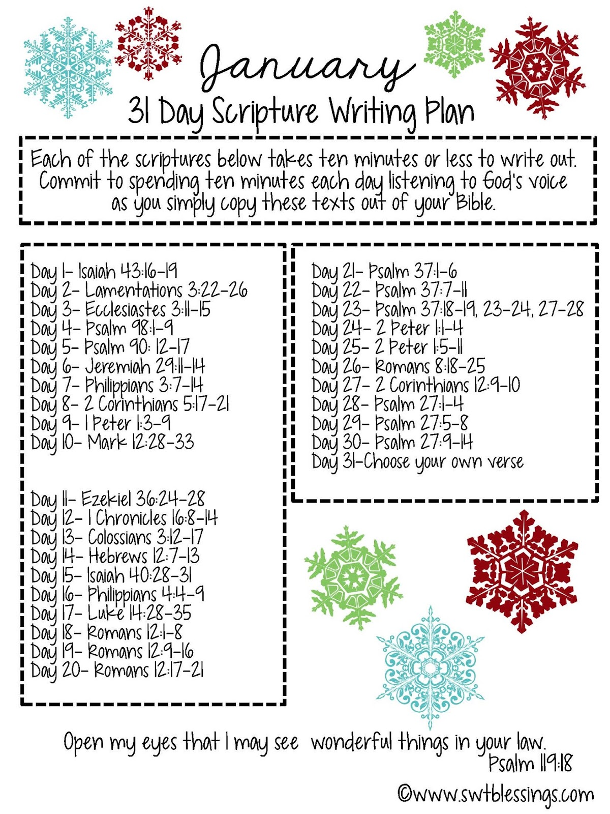 Sweet Blessings January Scripture Writing Plan 2016