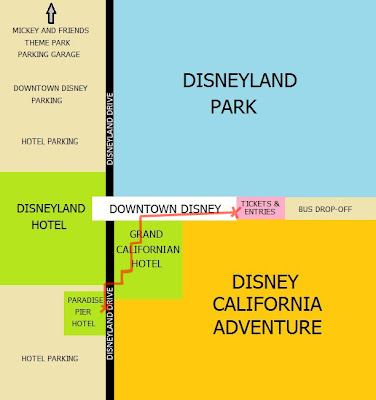 Walk Trek Paradise Pier Hotel to Disneyland DCA shortcut map