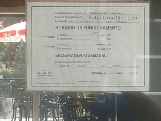 Horario Hotel Beira Dão