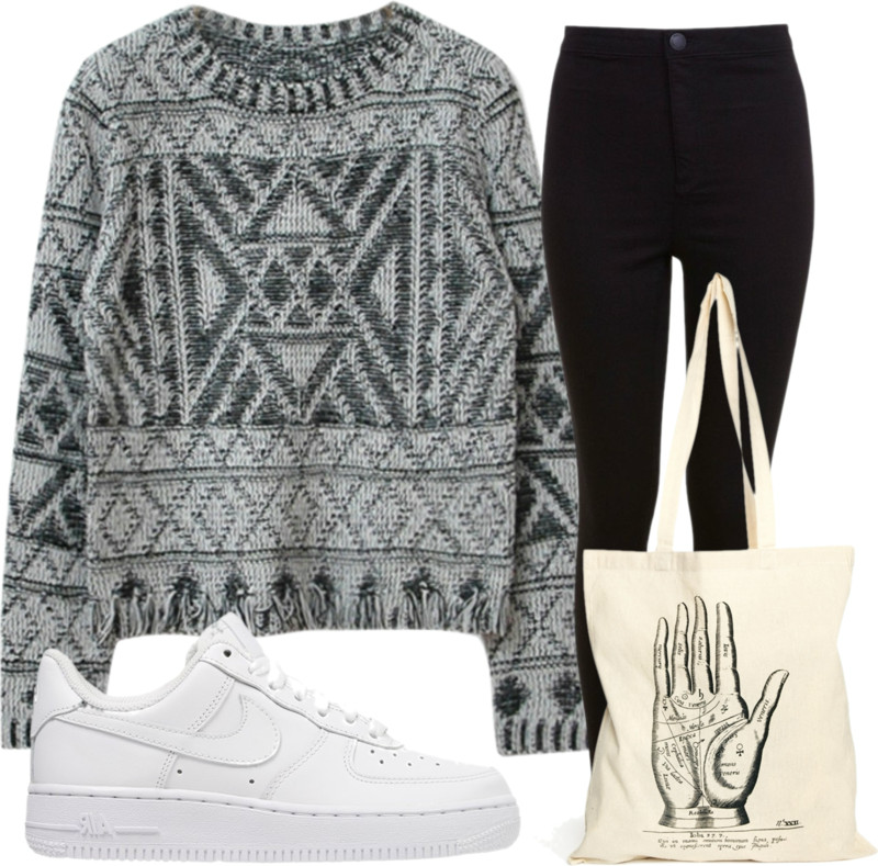 outfit with sneakers and sweater and jeans
