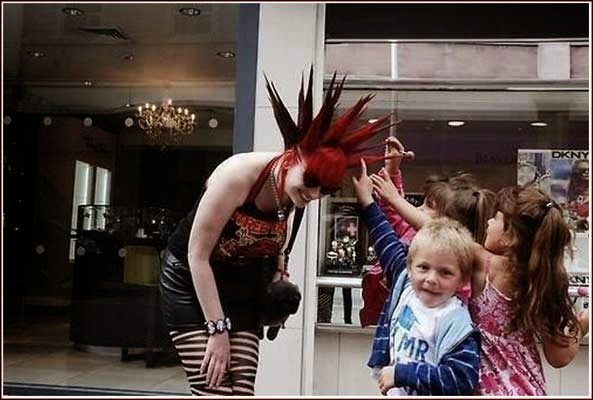 punk girl and kids